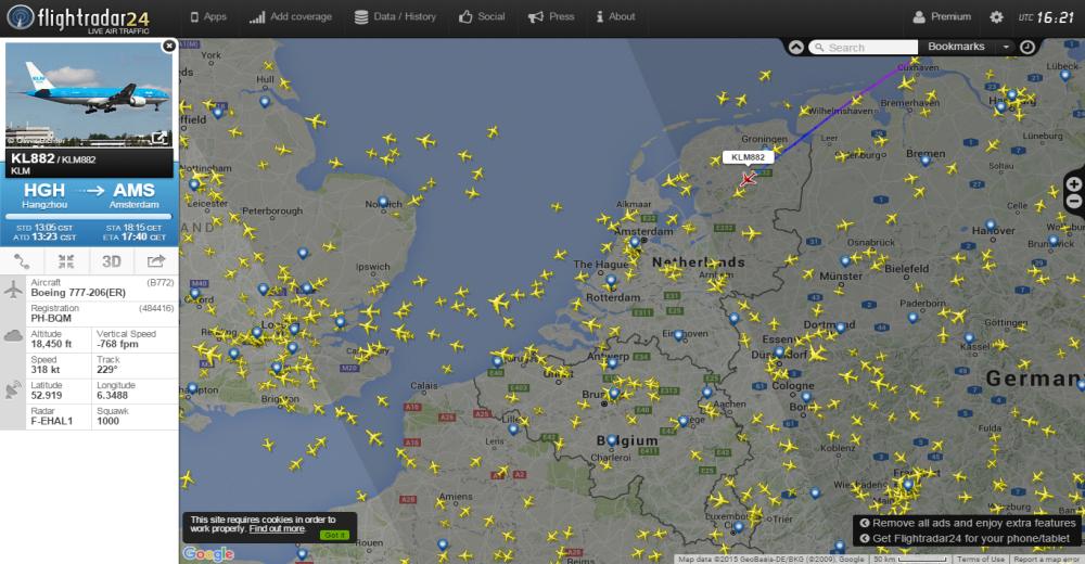 TRACK Flight Radar 24 Map